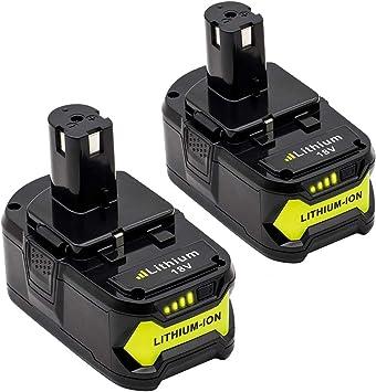 2Packs Replace for Ryobi 18V Battery Lithium Ryobi ONE P102 P103 P104 P105 P107 P108 P109 P122 Cordless Power Tools