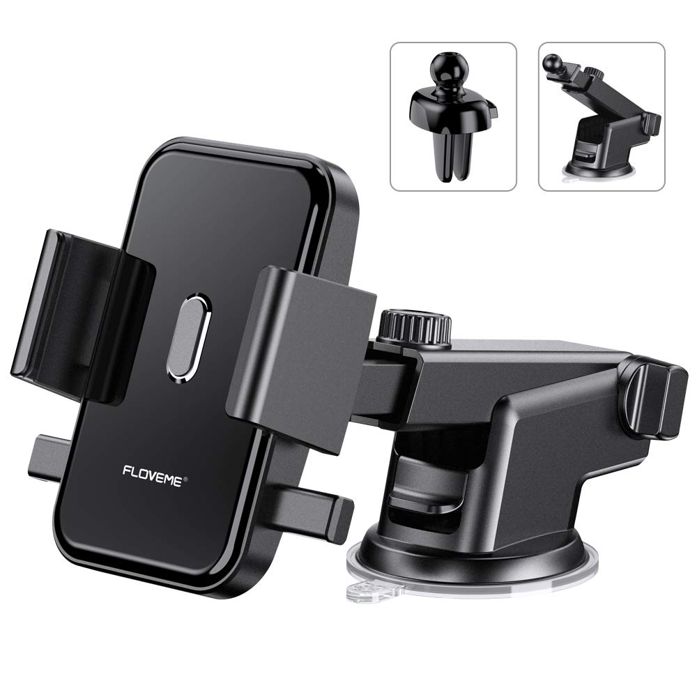 Cell Phone Holder for Car FLOVEME 2 in 1 Kit Long Neck 360 Rotate One Touch Auto-Grip Dashboard/Windshield/Air Vent Car Phone Mount for iPhone Xs Max XR X 8 7 Plus Samsung Galaxy Note 10 9 8 S10 S9 S8 by FLOVEME