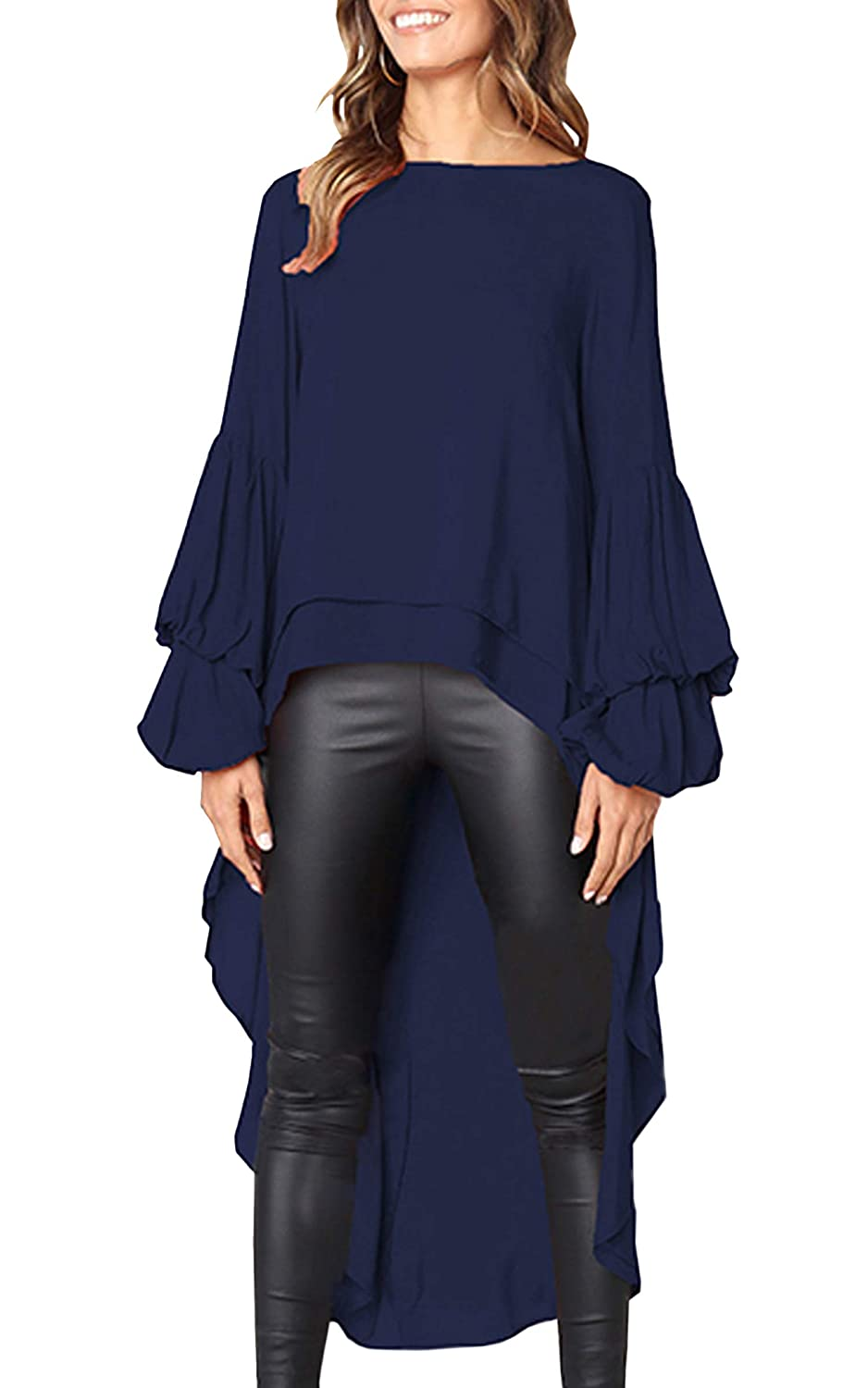 Dark bluee Hiblueco Women's Double Layered High Low Asymmetrical Tunic Top Blouse
