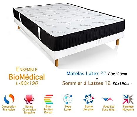 Conjunto biomédico Colchón látex somier 22/12, 80 x 190 cm