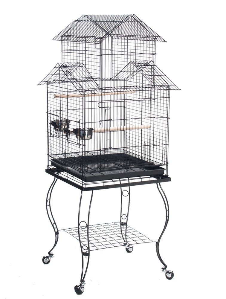 NEW Large 20-Inch Large Canary Parakeet Cockatiel LoveBird Finch Roof Top Bird Cage With Removable Stand (White Vein) Mcage 933A