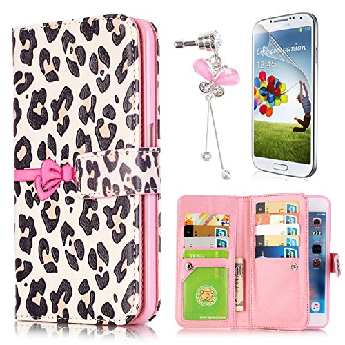 Sunroyal Samsung Galaxy A5 (2016) SM-A510F Wallet Case - Flip Synthetic Leather Wallet Pocket Case 2-In-1 Magnetic Detachable Back Cover with Built-in 9 Card Slots White Leopard Pattern Bowknot