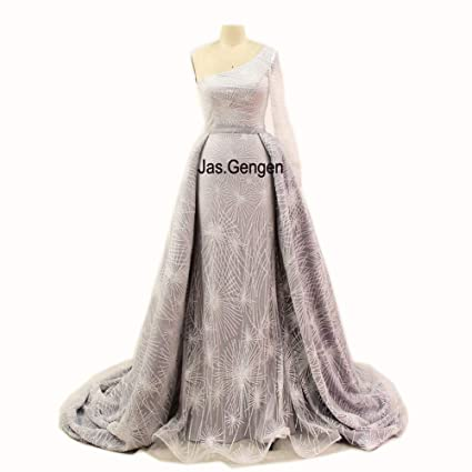 Gengen New Two Piece Detachable Mermaid Evening Dresses Off Shoulder Silver One Long Sleeve