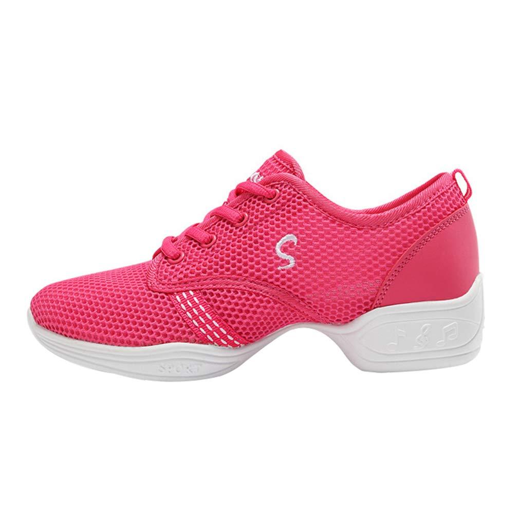 Mujer Dance Fitness Sneakers Entrenadores Transpirables Malla Suave Calzado Antideslizante Resistente Desgaste Zapatos Baile Niños C180730WD02-J