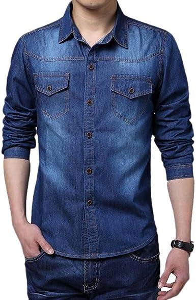 cooshional Camisa Vaquero Casual para Hombre Manga Larga Slim Fit: Amazon.es: Ropa y accesorios