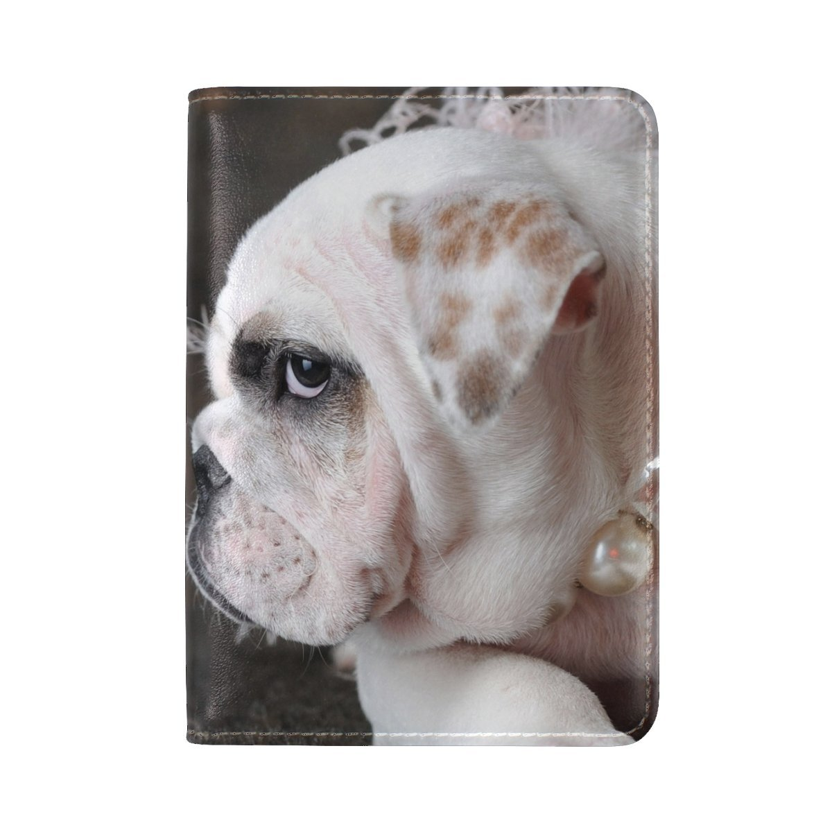 Dog Muzzle Beads Jewelry Leather Passport Holder Cover Case Travel One Pocket