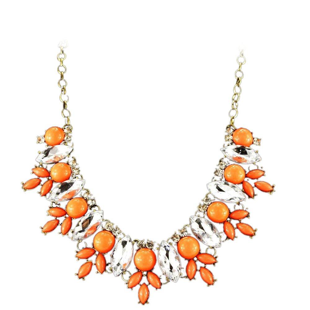 Fit&Wit FitWit Rhinestone Crystal Statement Necklace Women Bohemian Fashion Necklace - ORANGE