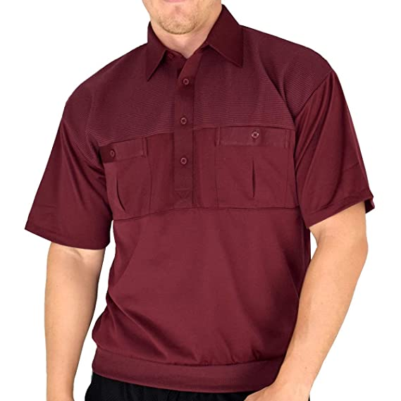 Vintage Shirts – Mens – Retro Shirts Palmland Classic 2 Pocket Solid Banded Bottom Polo Shirt Big and Tall $47.99 AT vintagedancer.com