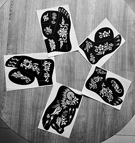 5pc JENNAH LEFT FOOT Indian Arabian Tattoo Reusable Stencils Stickers To Draw Around By LAMINAU
