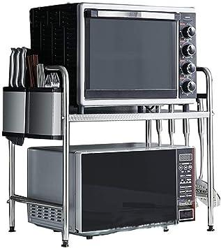 YSYDE Doble Acero Inoxidable Horno microondas Estante Cocina Contador y gabinete Estante Doble el Ahorro de Espacio para almacenar más artículos y Reducir el desorden en el Escritorio: Amazon.es: Hogar