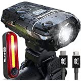BLITZU Gator 380 USB Rechargeable Bike Light Set Powerful Lumens Bicycle Headlight Free Tail Light, LED Front and Back Rear Lights Easy to Install for Kids Men Women Road Cycling Safety Flashlight