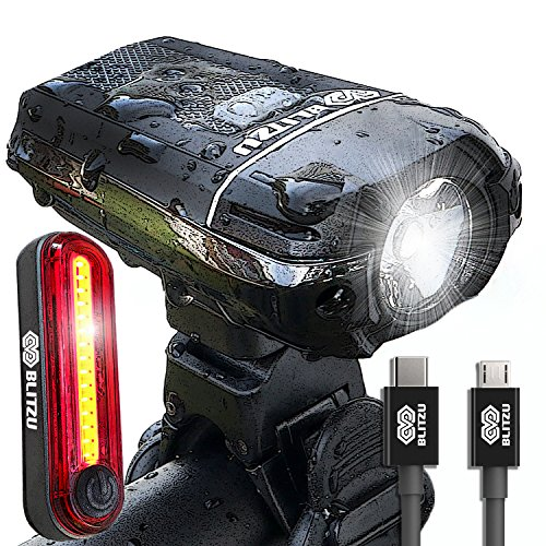BLITZU Gator 380 USB Rechargeable Bike Light Set POWERFUL Lumens Bicycle Headlight FREE TAIL LIGHT, LED Front and Back Rear Lights Easy To Install for Kids Men Women Road Cycling Safety Flashlight by BLITZU