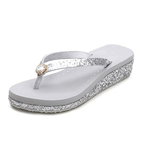 ce579b0712cae1 Sandals Women Flip Flops With Shiny Rhinestones Summer Beach Slope With  Wedge Platform Non-Slip Rubber Shoes