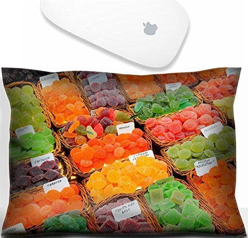 (Luxlady Mouse Wrist Rest Office Decor Wrist Supporter Pillow Natural Rubber Mousepad. IMAGE: 20986912 Confectionery shop at Boqueria market in Barcelona Spain Colorful gumdrops and wine gum sweets)