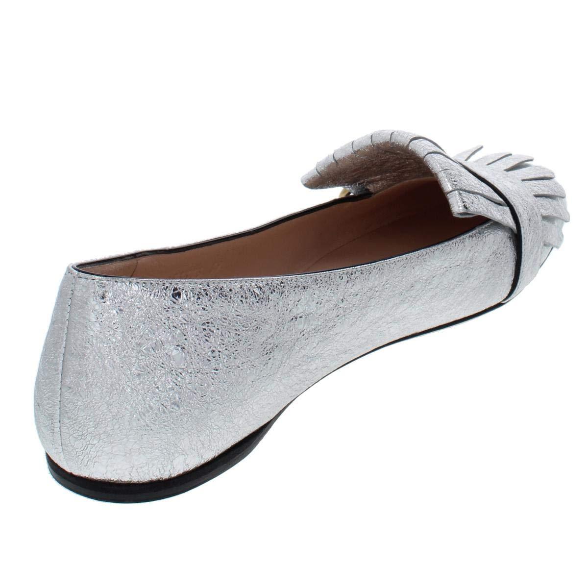 2afd25b9b5b Amazon.com  Gucci Womens Galassia Metallic Leather Ballet Flats Silver 39  Medium (B