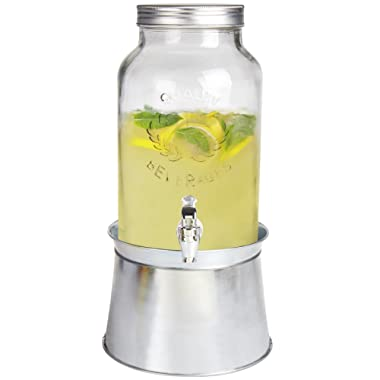 Estilo 1.5 gallon Glass Mason Jar Beverage Drink Dispenser With Ice Bucket Stand And Leak-Free Spigot, Clear
