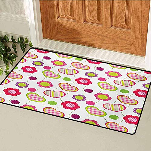 (GUUVOR Flower Commercial Grade Entrance mat Flowers Stitches Checked Lines Stripes Heart Round Shapes Craft Patchwork Art for entrances garages patios W23.6 x L35.4 Inch Lime Purple Red)