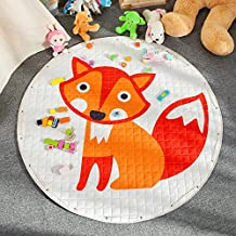 Large Kids Play Mat,Round Double Layer Foldable Toys Storage Bag,Extra-Thick Moisture-proof Crawling Rugs by CutePuppy (Fox)