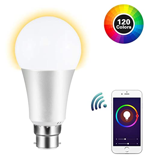 FAGORY Bombilla LED Inteligente WiFi B22, Compatible con Amazon Alexa y Google Home, Multicolor