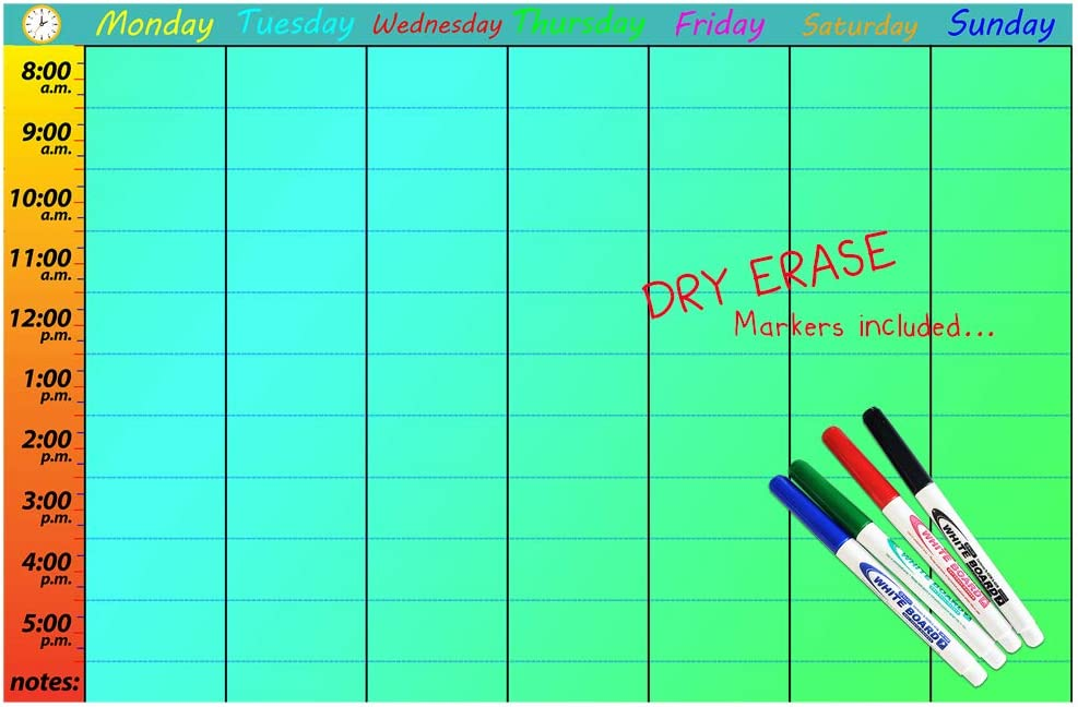 """Homeschool Schedule Class scheduling Chart - Chore Chart Organization Creative Colorful Homeschool Supplies Kids Daily Schedule Chart - Includes 4 Dry Erase Markers Reusable Weekly - Large 17""""x26"""""""