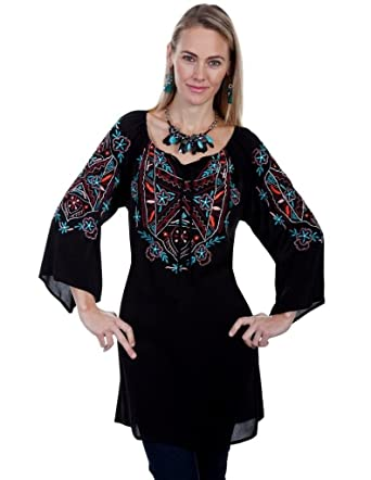 b721aff3f80 Scully Women s Cantata Embroidered Tunic Black Blouse at Amazon Women s  Clothing store