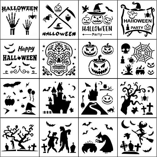 Halloween Carving Letters (Halloween Stencil Templates - 16 Pack Halloween Letter Image Stencils for Pumpkin Carving, Crafts Making and Face Painting, Reusable Plastic Stencils for Halloween Wood Signs & Decoration)