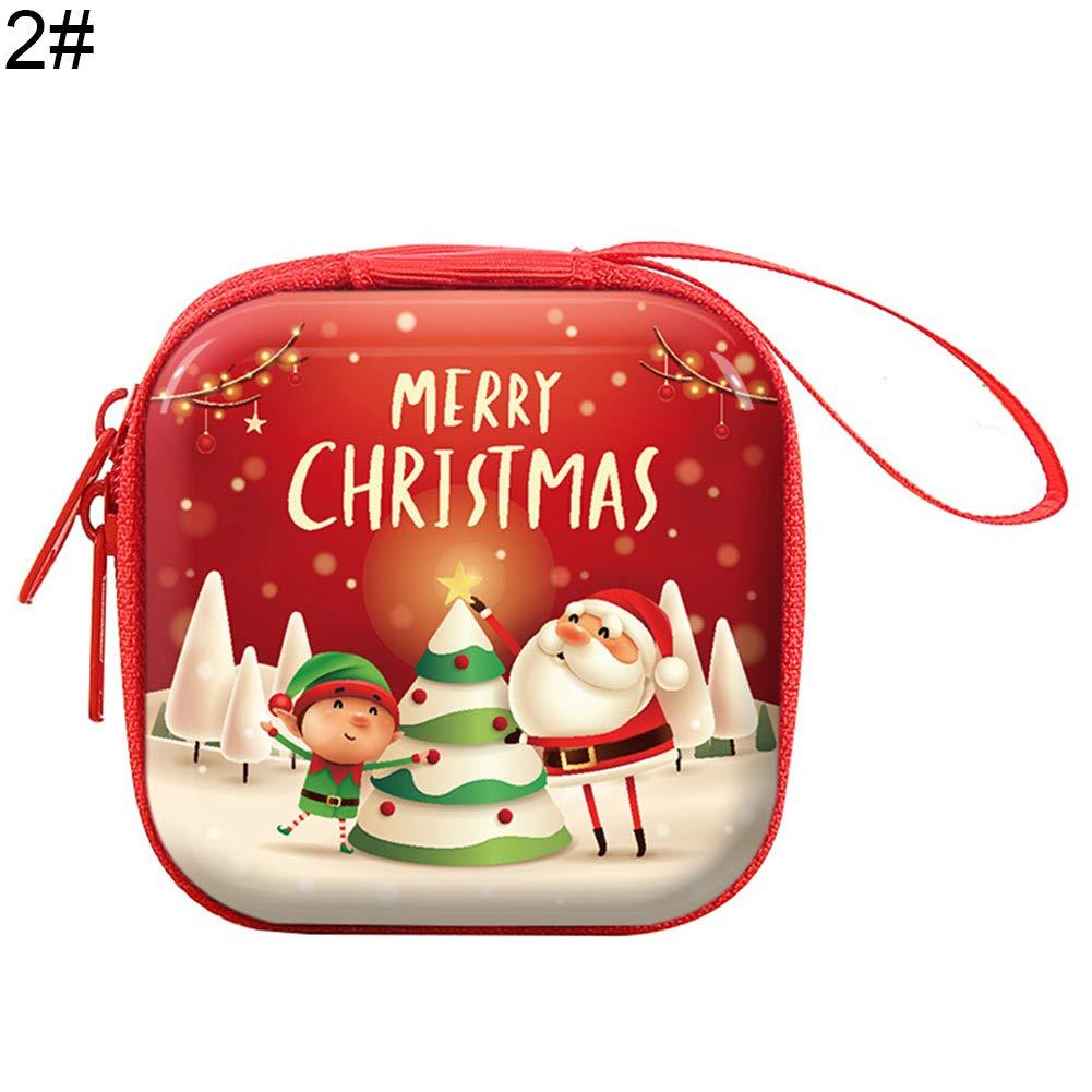 1# wvcetgbwe Christmas Supplies Round Zipper Box Earphone Bag,Santa Snowman Deer Penguin Pattern Coin Purse