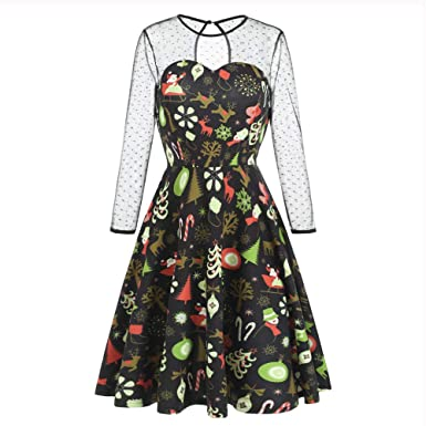 Challen Womens Christmas Vintage Dresses,Net Patchwork Printed Princess Dresses Gown,A-Line