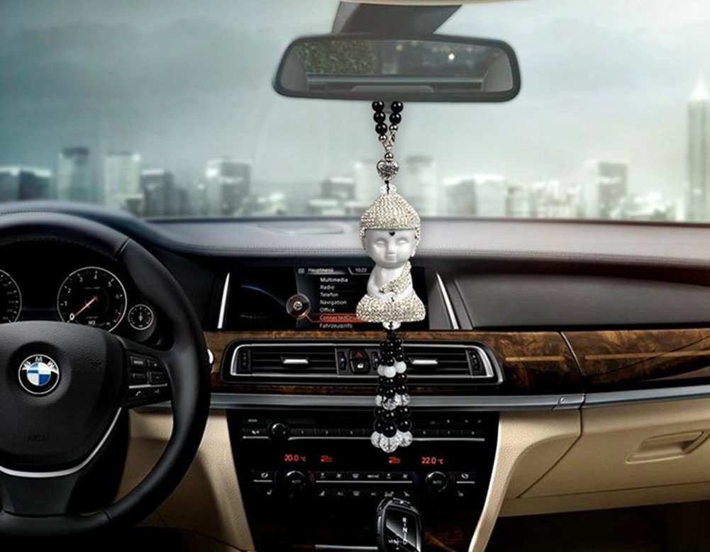 Silence Shopping Ceramic Buddha Pendant Enchased with Diamond Car Hanging Decor Ornament Decoration Rearview Mirror Glass Peace