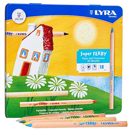 LYRA Super Ferby Giant Triangular Colored Pencils, Unlacquered, 6.25 Millimeter Cores, Assorted Colors, 18 Count (3711180) by Lyra (Image #1)