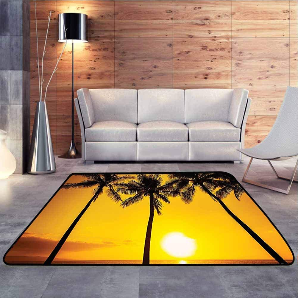 Home Decor Rug Golden Tropical Sunset Coastal Theme Beach with Coconut Trees Exotic Vacation Picture Gold Smooth Modern Abstract Area Rug Add Fashion to Room's Decor, 4 x 4 Feet
