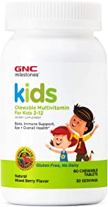 GNC Milestones Kids Chewable Multivitamin for Kids 2-12, 60 Chewable Tablets, Supports Bones, Immune System, Eyes and Overall Health