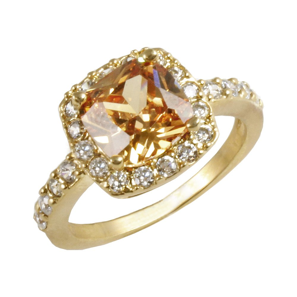 Square Topaz Champagne CZ Ring Wedding Party Statement Cocktails Gold Plated Classic Fashion Size 5 - 10 (Brown, 5)