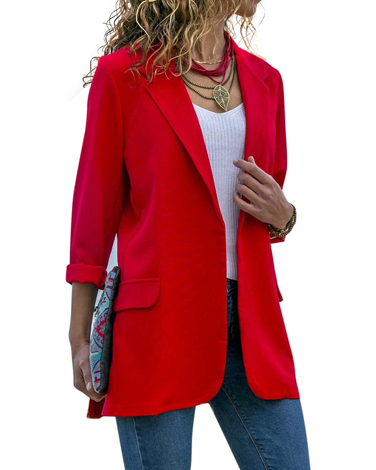 AUDATE Women Long Sleeve Open Front Suit Lapel Work Business Blazer Jacket Coat UK 6-14 AUDATE-60CA0030637