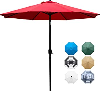 (Red) - Sunnyglade 2.7m Patio Umbrella Outdoor Table Umbrella with 8 Sturdy Ribs (Red)