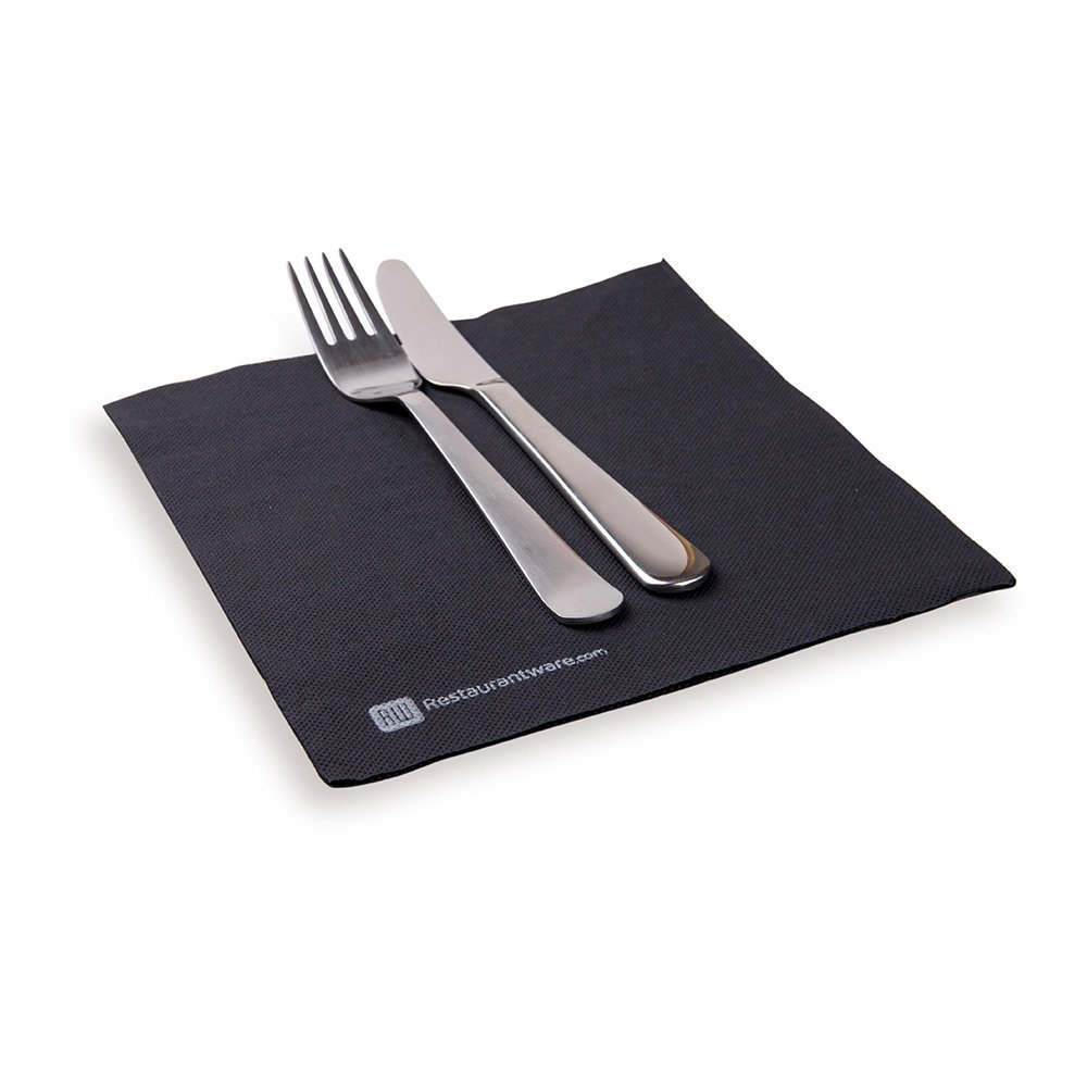 Paper Dinner Napkins, 2 Ply Napkins, Disposable Dinner Napkins - Black - 16'' x 16'' - Luxnap Micropoint - 1800ct Box - Restaurantware