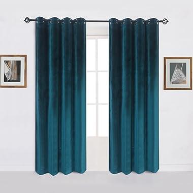 Super Soft Luxury Velvet Set of 2 Dark Green Blackout Energy Efficient Grommet Curtain Panel Drapes Peacock-blue 52Wx72L(2 panels)