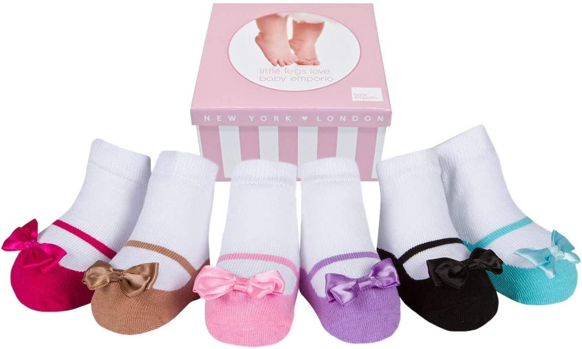 Gift Packaged Baby Infant Toddler Girl Soft Combed Cotton Shoe Look Socks-Anti slip Soles 6 Pairs