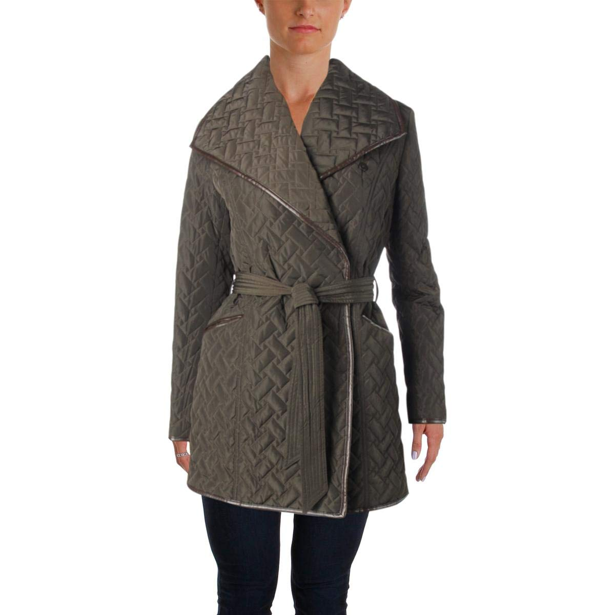 Cole Haan Women's Signature Quilted Belted Wrap Coat with Pu Details 356SP172