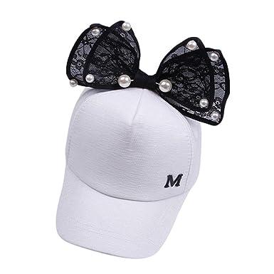 Casquette Fille,Covermason Impression M-letter baseball casquette chapeau  Casquette brodée Pearl bowknot pour d6acb831c46