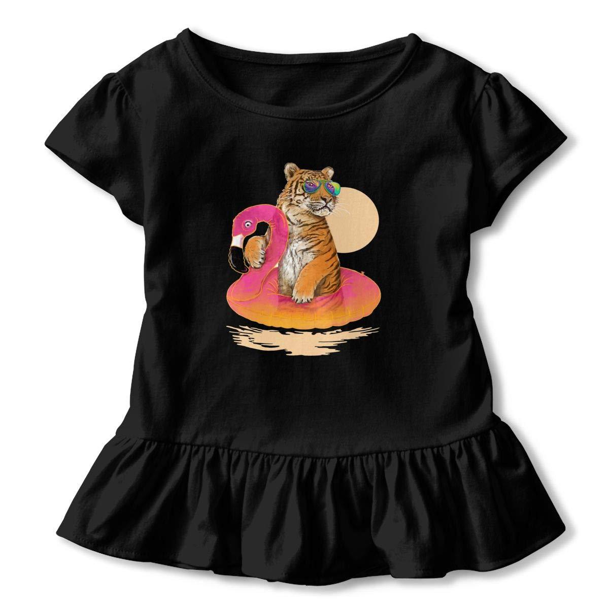 Chillin Toddler Girls T Shirt Kids Cotton Short Sleeve Ruffle Tee Flamingo Tiger