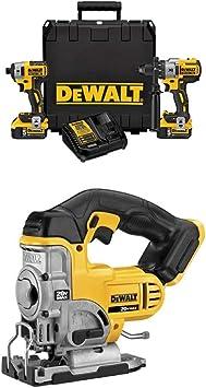 DEWALT DCK299P2 20V MAX XR 5.0Ah Premium Cordless Hammerdrill & Impact Driver Combo Kit with DCS331B 20-Volt MAX Li-Ion Jig Saw (Tool Only)
