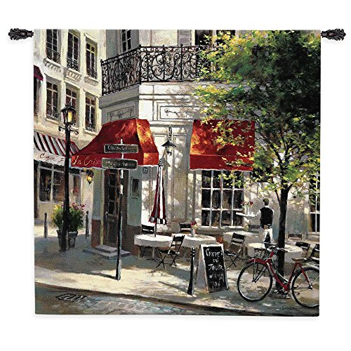 Fine Art Tapestries Corner Cafe Wall Tapestry 1496-WH 53 inches wide by 53 inches long, 100% cotton (Cafe Tapestry)