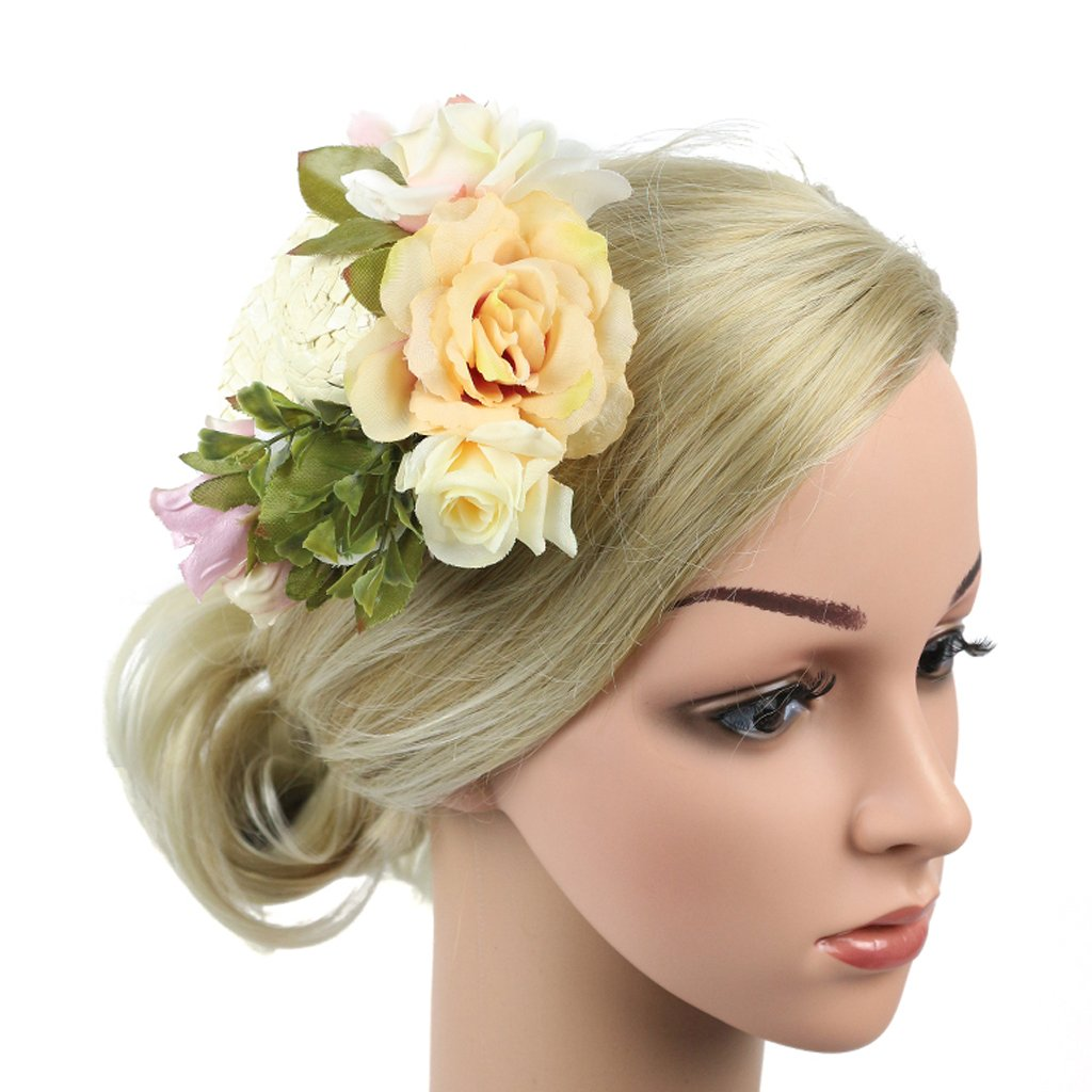 Baoblaze Hair Clip Fascinators Flower Hat on a Headband Tea Party Headwear for Girls and Women