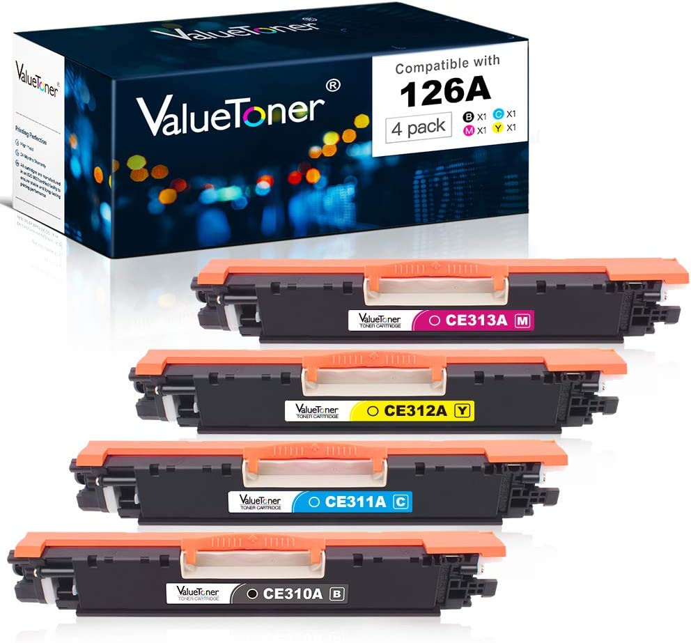 Valuetoner Remanufactured Toner Cartridge Replacement for HP 126A CE310A CE311A CE312A CE313A for Color Laserjet Pro MFP M175 M275 CP1025nw Laser Printer(Black, Cyan, Magenta, Yellow, 4 Pack)