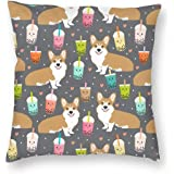 AD-C1-CPW Pembroke Corgi Dogs Soft Velvet Feel Cushion Cover With Inner Pillow