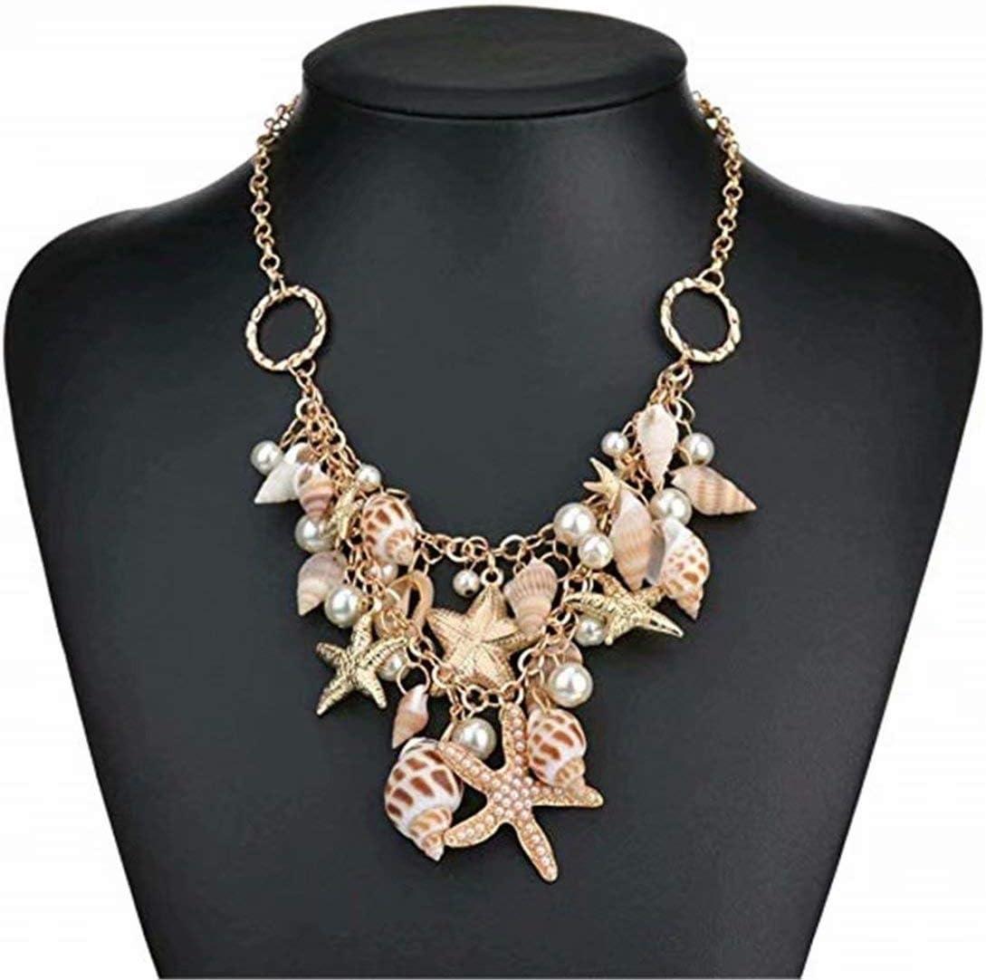 Mouchao Fashion Sea Shell Starfish Faux Pearl Collar Bib Statement Chunky Necklace
