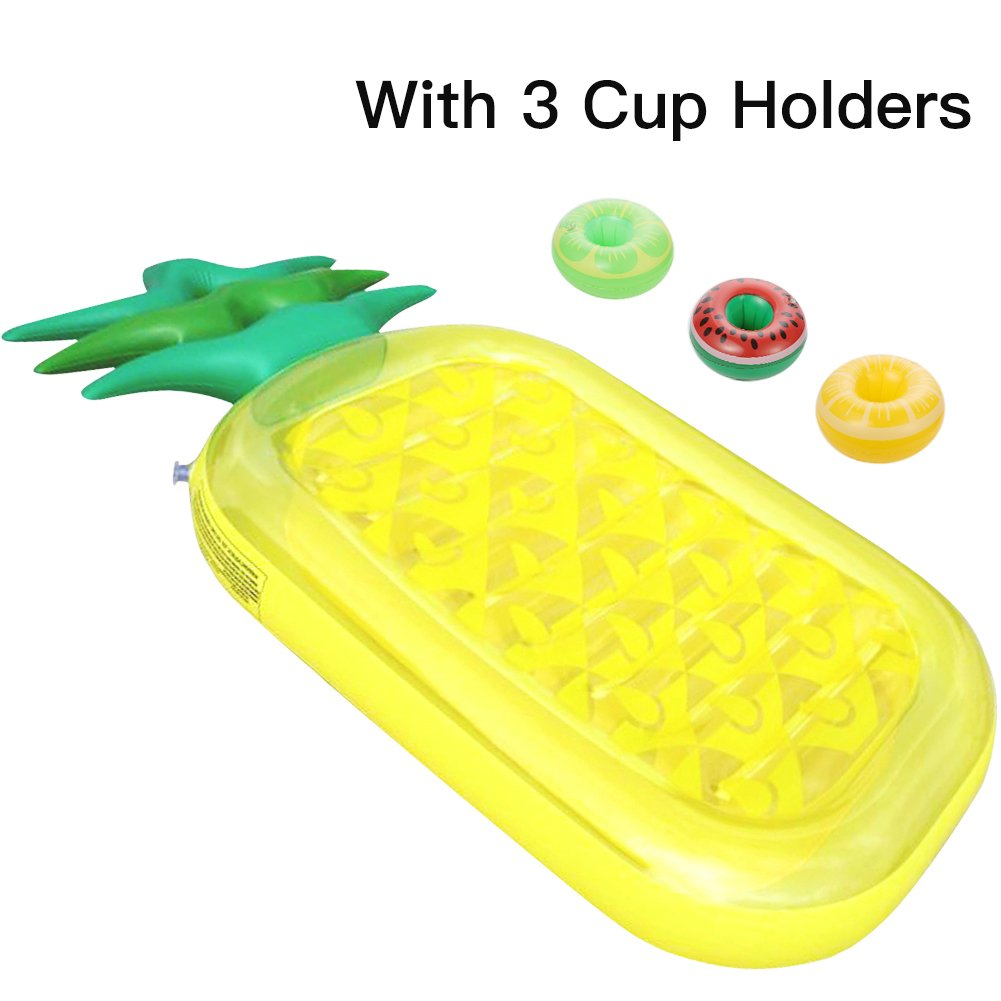 ThinkMax Inflatable Pool Float Raft Adults & Kids, Giant 76'' Pineapple Pool Lounge Toy Summer Swim Party Bonus 3 Cup Holders