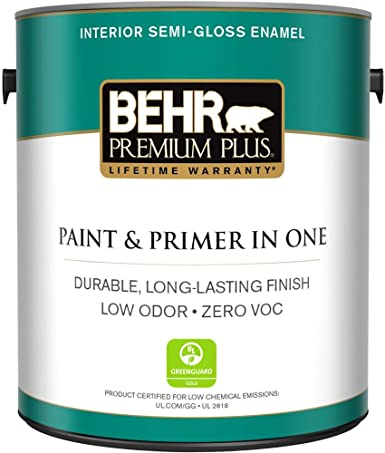 Behr Premium Plus 1 Gal Ultra Pure White Semi Gloss Enamel Zero Voc Interior Paint And Primer In One Home Improvement Amazon Com
