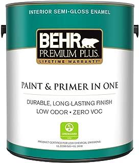 product image for BEHR Premium Plus 1 gal. Ultra Pure White Semi-Gloss Enamel Zero VOC Interior Paint and Primer in One